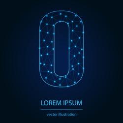 Modern abstract alphabet on background blue. Wire frame 3D mesh polygonal network line. Vector design element for your art. Letter O. Vector illustration eps10.