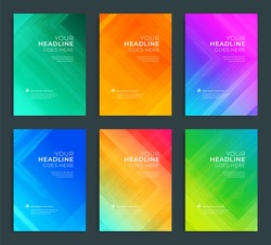 Modern abstract annual report, flyer design, brochure templates set. Vector illustration for business covers, corporate presentation banners. Geometric lines.