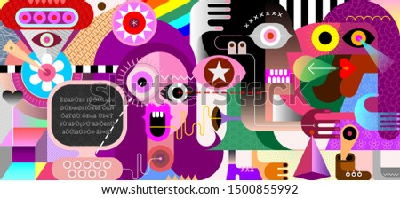 Modern abstract artwork People in Cyberspace vector illustration.
