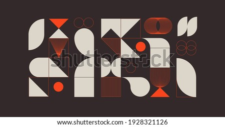 Modern abstract  background with geometric shapes and halftone textures. Minimalistic geometric pattern in Scandinavian style. Trendy vector graphic elements for your unique design.