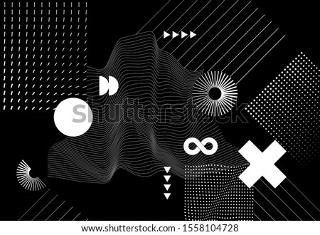 Modern abstract  background with halftone geometric shapes and textures. Trendy vector graphic elements for your unique design.
