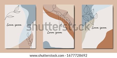 Modern abstract   background  with minimalism. Calm, pastel colors in brown tones. Plant elements. Wedding invitation design. Graphic design geometric shape. Creative vector concept.