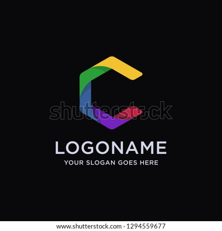 Modern abstract C letter logo icon