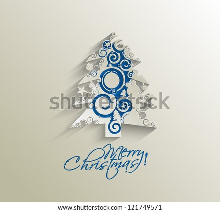 Modern abstract christmas tree background, eps10 vector illustration