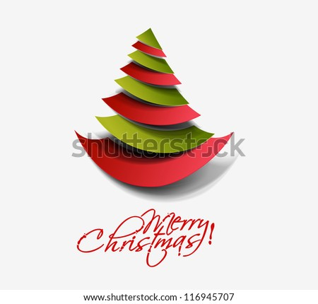 Modern abstract christmas tree background, vector illustration