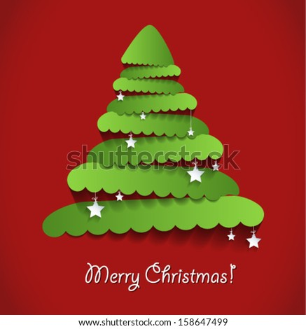 Modern abstract christmas tree on red background with stars. Vector eps10.