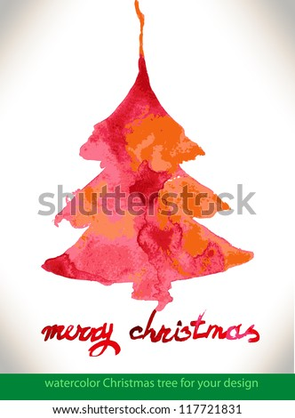 Modern abstract christmas tree watercolor vector background, vector illustration