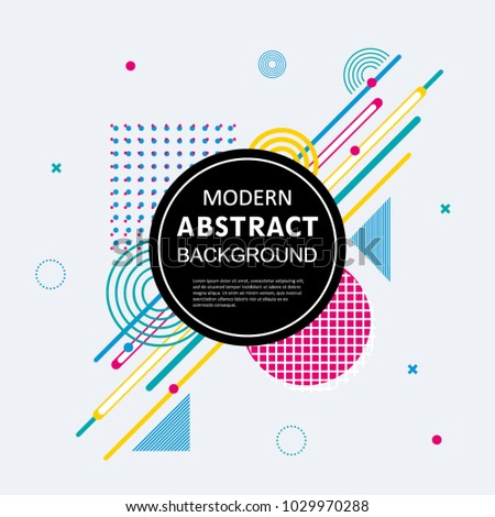 Modern abstract circle colorful geometric pattern design and background. Use for modern design, cover, poster, template, brochure, decorated and flyer. #1029970288