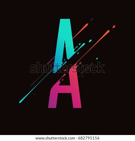 Modern abstract colorful alphabet. Dynamic liquid ink splashes letter. Vector design element for your art. Letter A