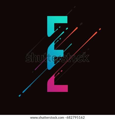 Modern abstract colorful alphabet. Dynamic liquid ink splashes letter. Vector design element for your art. Letter E