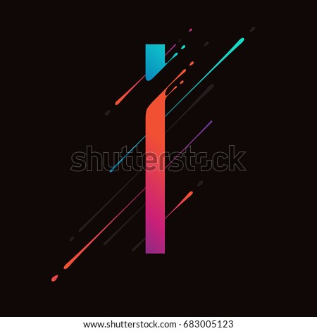 Modern abstract colorful alphabet. Dynamic liquid ink splashes letter. Vector design element for your art. Letter I