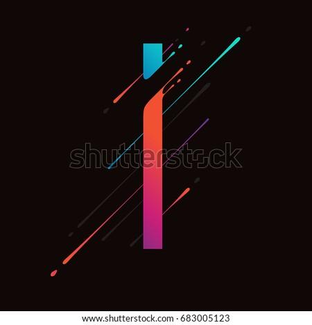 Modern abstract colorful alphabet. Dynamic liquid ink splashes letter. Vector design element for your art. Letter I