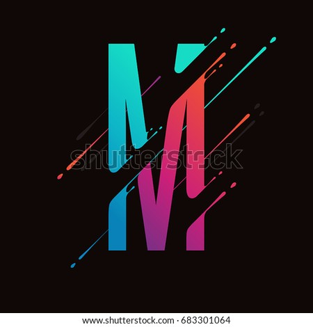 Modern abstract colorful alphabet. Dynamic liquid ink splashes letter. Vector design element for your art. Letter M