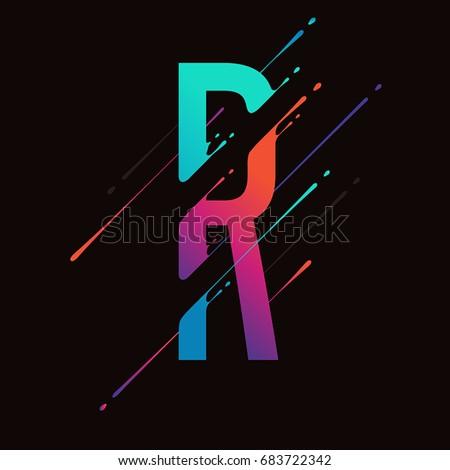 Modern abstract colorful alphabet. Dynamic liquid ink splashes letter. Vector design element for your art. Letter R