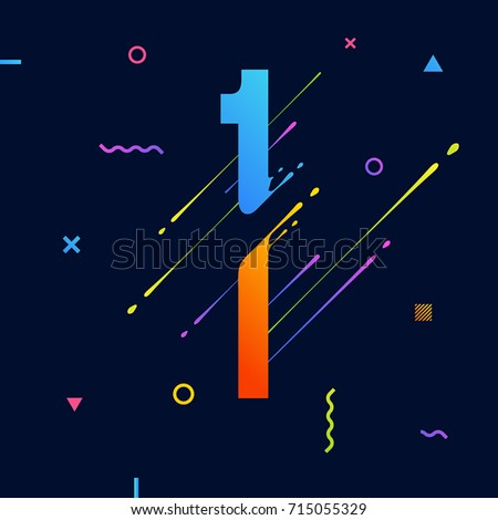 Modern abstract colorful number with minimal design. Number 1. Abstract background with cool bright geometric elements. Dynamic liquid ink splashes symbol. Eps10 vector template for your art