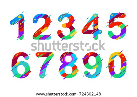 Modern abstract colorful numbers. Colourful set of numbers 0, 1, 2, 3, 4, 5, 6, 7, 8, 9 logo or icon. Vector illustration