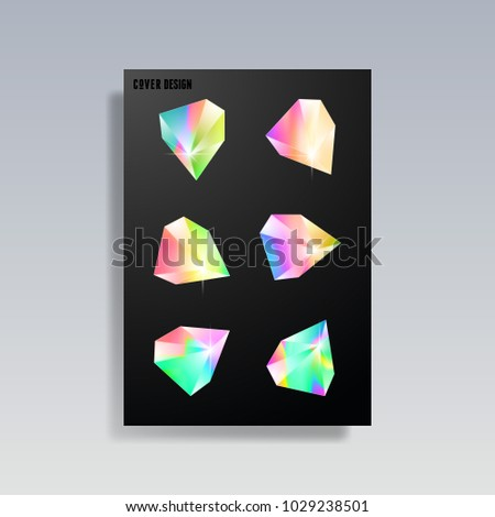 Modern abstract cover. Cool trendy crystals, diamond shapes. Vector illustration