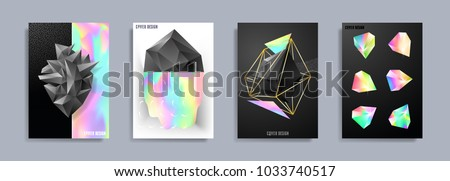 Modern abstract covers. Cool trendy crystals, diamond shapes. Vector illustration