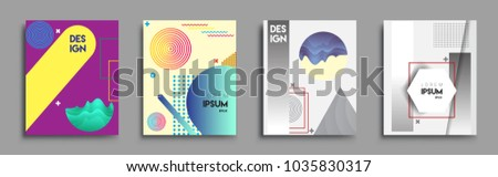Modern abstract covers set. Cool gradient shapes composition, vector covers design. #1035830317