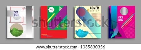 Modern abstract covers set. Cool gradient shapes composition, vector covers design. #1035830356