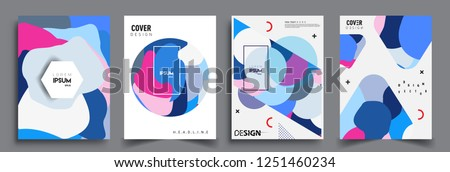 Modern abstract covers set. Cool gradient shapes composition, vector covers design. #1251460234