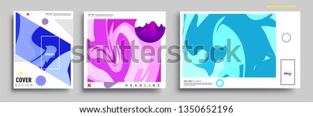 Modern abstract covers set. Cool gradient shapes composition, vector covers design. #1350652196