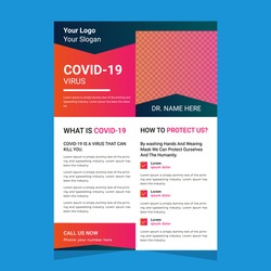 Modern abstract creative corporate Covid Medical Business promotional post flyer template design with vector graphic elements in A4 size.Poster and pamphlet layout in ai.Minimal Brochure cover layout.