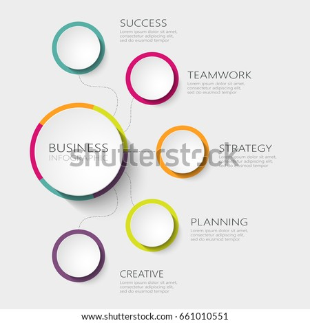 Modern abstract 3D infographic template with five steps for success. Business circle template with options for brochure, diagram, workflow, timeline, web design. Vector EPS 10