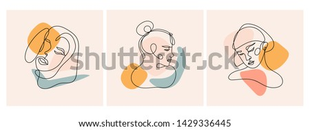 Modern abstract faces. Contemporary female silhouettes. Set of three hand drawn outline trendy vector illustrations. Continuous line, minimalistic concept. Pastel colors