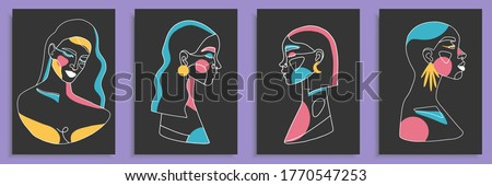 modern abstract faces with