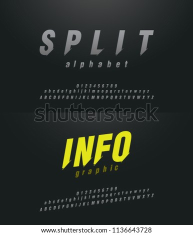 Modern abstract font alphabet numbers italic set. Technology and sport split concept graphic element