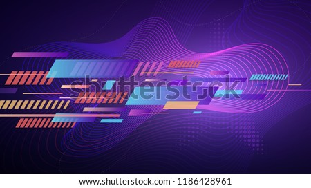 Modern abstract geometric gradient background. Colorful stripes and dynamic wavy vivid lines with halftone star texture over violet background for your design