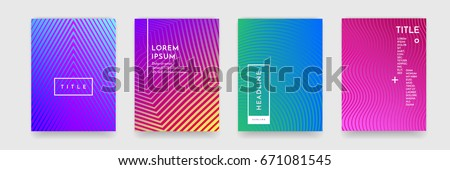Modern abstract geometric line pattern background for business brochure cover design. Blue, red, yellow, pink and green gradient vector banner poster template #671081545