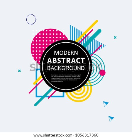 Modern abstract geometric memphis pattern design and background with badge. EPS 10 Vector. Use for cover, flyer, decorated, poster and template. #1056317360