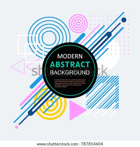Modern abstract geometric pattern design and background with circle badge. Use for modern design, cover, tag, template, decorated, flyer, brochure and poster. #787854604