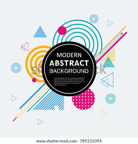 Modern abstract geometric pattern design and background with circle badge. Use for modern design poster, cover, template, decorated, brochure, flyer and fashion. #789231094