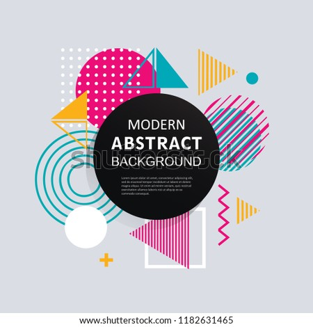 Modern abstract geometry design with full color shape for flyers, banners, posters, tags, covers, labels and background. #1182631465