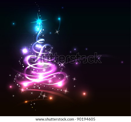 Modern abstract glowing christmas tree, eps 10