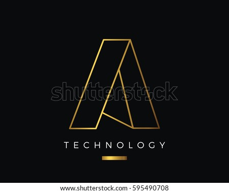 modern abstract gold a alphabet