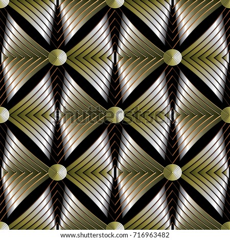 modern abstract gold striped 3d