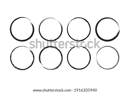 Modern abstract icon with black brush circles. grunge circles. Brush circles. ink circles. vector illustration. Watercolor texture. The background is isolated. Abstract vector background.