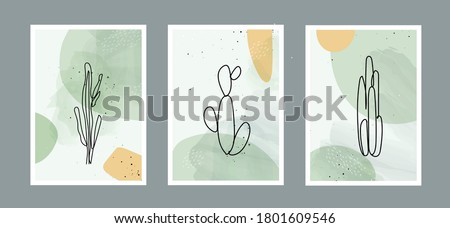 modern abstract line cactus in