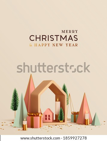 Modern abstract minimal Christmas poster, holiday banner, flyer, stylish brochure, greeting card. Xmas Background design 3d render festive decorative objects. Merry Christmas and Happy New Year.