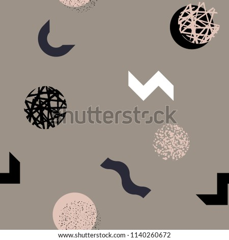 Modern abstract seamless pattern. Colorful endless ornament with chaotic shapes in memphis style on terracotta background. Stylish vector design for fabric, wallpaper, wrapping