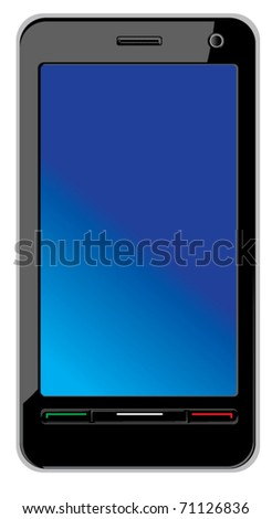 Modern abstract touch screen smart phone isolated on white. Vecto illustration