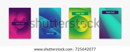 Modern abstract trendy gradient covers. Cool simple shapes composition. Minimal futuristic design of vector illustration. For music, advertising, card, branding, identity, catalog