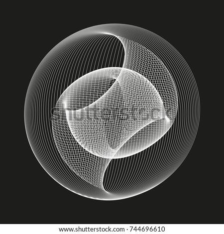 stock-vector-modern-abstract-vector-illustration-digital-futuristic-monochrome-linear-shape-beauty-of-complex