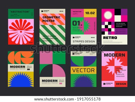Modern aesthetics posters collection. Swiss design pattern vector design. Mimimal geometric placards. Creative templates with abstract shapes for Cover, Brochure, Flayer and Banner.