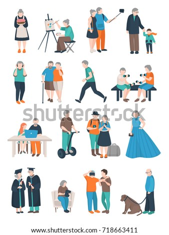 Modern aged people flat set of isolated doodle style human characters of various elderly people activities vector illustration