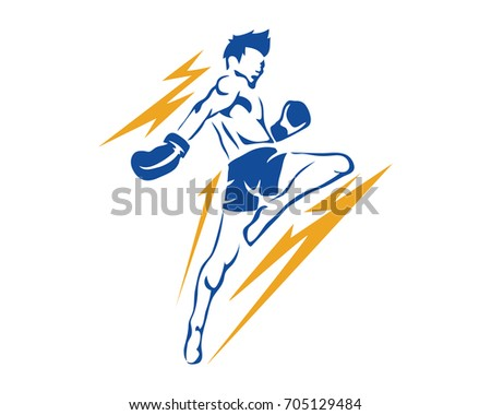 Modern Aggressive Mixed Martial Arts Sports Athlete in Action Logo